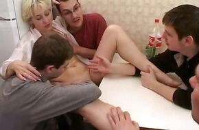 Homemade mature gangbang